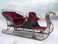 Beautiful Two-seater Sleigh::with Red Velvet interior..Not sure if I'd rather decorate it or ride in it!  lol.