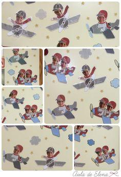 Collage decoración puerta clase con aviones en el Aula de Elena
