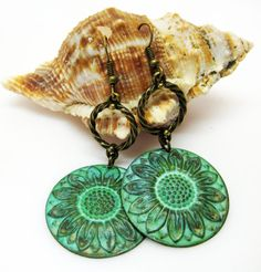 Large Sunflower Earrings  Teal Green by AVeryCoolEarringShop
