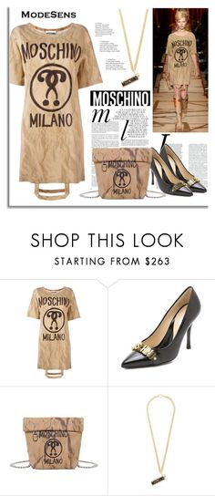 """""""Moschino Bag Handle T-shirt Dress"""" by modesens ❤ liked on Polyvore featuring Moschino, Whiteley, modesens and moschinoaw2017"""