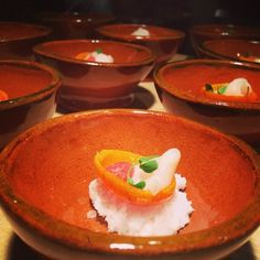 New china in Topolo (scallop ceviche amuse in kumquat w homade fermented hot sce). Tuesday: whole new menu format!