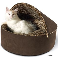 K&H Deluxe Thermo Hooded Cat Bed  from Drs. Foster & Smith.  Removable zippered hood, orthopedic foam.