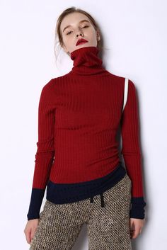 Color Block Sweater, Minimalist Fashion, Color Blocking, Fashion Brands, Contrast, Turtle Neck, Glamour, Style Inspiration, Knitting