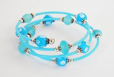Blue Bead and Tube Memory Wire Coil Bracelet by DebsTurquoiseZebra, $15.00