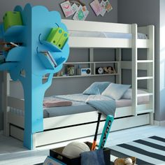 Bunkbed with tree bookcase design - a magical addition to a child's bedroom