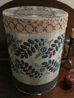 Antique 1800s N E Folk Art Huge Flocked Hearts Wallpaper Hat Box Bandbox AAFA | eBay 1838-48