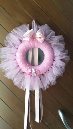 Gender Reveal Ideas Gender Reveal Party Best by WreathsbyGramPink tulle wreath Nursery decor Nursery wall by WreathsbyGramReally love what WreathsbyGram is doing on Etsy. Fabric Wreath, Tulle Wreath, Diy Wreath, Girl Baby Shower Decorations, Baby Shower Centerpieces, Baby Decor, Baby Door Wreaths, Baby Boy Wreath, Handmade Crafts
