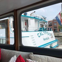 Another view true my window. The passenger ship Calypso sails away again after a short visit to Groningen. Houseboats, Sailing, Window, Ship, Candle, Windows, Ships