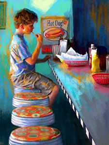 Eating Fries by karen Chandler Digital ~ x
