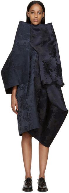 COMME DES GARÇONS Navy Structural Floral Dress. #commedesgarçons #cloth #dress
