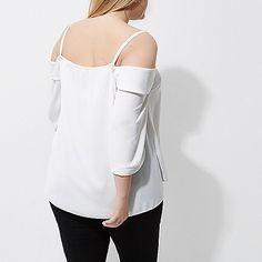 Plus white cold shoulder frill top - bardot / cold shoulder tops - tops - women