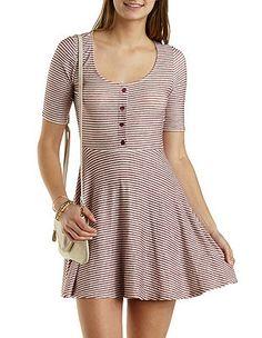 Striped Henley Skater Dress: Charlotte Russe