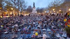 """In Place de Republique, where the massive march was supposed to launch today, on the eve of the COP 21 climate talks, activists placed roughly pairs of shoes—a symbolic and poignant """"silent march. Paris Attack, Paris Climate, Paris 2015, Print Your Photos, Climate Action, Great Pic, Environmental Issues, Our World, Dolores Park"""