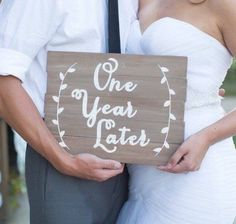 One Year Later Anniversary Photo Prop Personlize Pictures Wedding Wooden Sign Home Decor Photography Gift Couple Vines Married by WillowWoodSigns on Etsy https://www.etsy.com/listing/501412385/one-year-later-anniversary-photo-prop