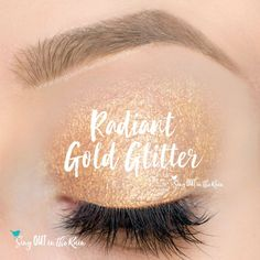 Limited Edition Radiant Gold Glitter ShadowSense is part of the Golden Lights Eyes Collection.  It has a vibrant gold with LOTS of gold glitter.  #radiantgoldglitter #goldenlights #shadowsense
