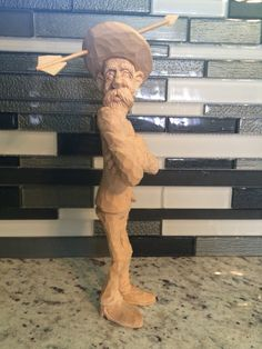 """Caricature carving """"Warning Shot"""" by Dwayne Gosnell almost done"""