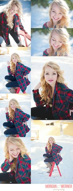 Love this sort of fresh faced look but with a cute winter jacket to offset eye color etc...  Morgan Werner Senior Photography   Senior in the Snow