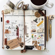   a look back • week 49   #liveauthentic #livefolk #nothingisordinary #zakka #onthetable #coffeetime #coffee #scrapbooking #papercraft #stickers #midoritravelersnotebook #midori #travelersnotebook #travelersnote #stamps #travelersfactory #journal #planner #plannerlove #plannernerd #stationerylove #stationery #washitape #typography #handwriting #vsco #vscocam Smash Book, Scrapbooking, Scrapbook Paper, Scrapbook Journal, Travel Journal Pages, Travel Journals, Journal Diary, Planner Journal, Diary Planner