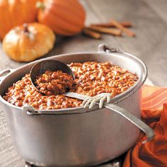 Pumpkin Chili - This is currently simmering on the stove and I will NEVER make regular chili again!  So delicious!!! Can't wait to pair it with the green chili and cheese cornbread in the oven  :)