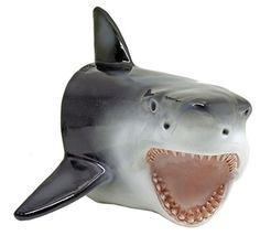 "Large Shark Head Wall Mount Statue Bust - ""Predator"" - Mako Great White Shark Attack Teeth"