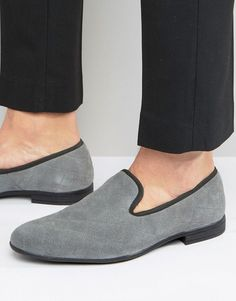 London Brogues Quilted Slipper Loafers - Gray