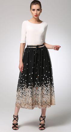 Maxi skirt womens skirts black skirt chiffon skirt by xiaolizi