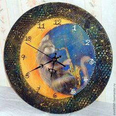"Часы для дома ручной работы. Ярмарка Мастеров - ручная работа Часы ""Лунный кот"". Handmade."