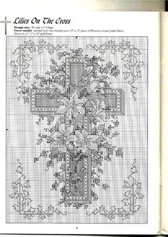 Lilies on the Cross - Solo Patrones Punto Cruz (pág. Cross Stitch Boards, Cross Stitch Needles, Blackwork Embroidery, Cross Stitch Embroidery, Cross Designs, Cross Stitch Designs, Easter Cross, Cross Stitch Pictures, Religious Cross