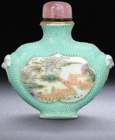 Two turquoise-ground porcelain snuff bottles Qing dynasty, 1780-1820 Sold for HK$ 68,750 (US$ 8,863) inc. premium with stippled turquoise ground