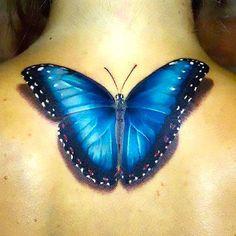 blue morpho butterfly tattoo - Buscar co. Realistic Butterfly Tattoo, Blue Butterfly Tattoo, Butterfly Tattoo Meaning, Morpho Butterfly, Morpho Bleu, Morpho Azul, Blue Morpho, Tattoo Girls, Girl Tattoos