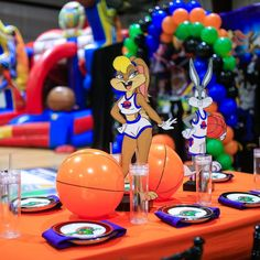 7th Birthday Boys, First Birthday Party Themes, Baby Birthday, Space Jam Theme, Looney Tunes Party, Tune Squad, Tea Party Decorations, Event Design, 30th