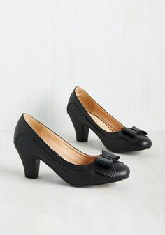 Fashionable Forte Heel. You excel in many aspects, and by adopting these black kitten heels into your collection, you can add style to the list as well. #black #modcloth