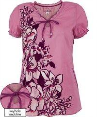 Koi Scrubs Angelic Print Top Style #  K129ANG $25.99 #koiscrubs #coloroftheyear #uascrubs #uniformadvantage  | Radiant Orchid