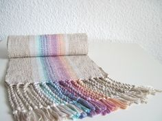 Handwoven Scarf - Cotton and Eco Friendly Fibers Pinks and Blue - 'Clouds at Sunset' by SameheartDesigns on Etsy