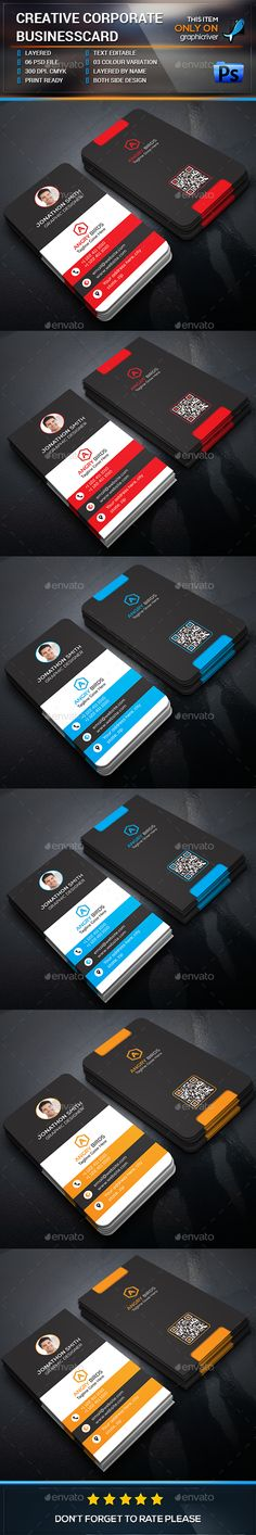 Corporate Business Card by design_park This is a Corporate Business card.This template download contains 03color corporate business card design, which is 300 dpi print-r