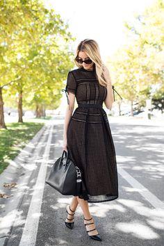 Blackout Eyelet Midi Dress Fall Inspo