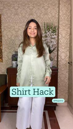 Diy Clothes Life Hacks, Clothing Hacks, Shirt Hacks, Indian Fashion Dresses, Fashion Outfits, Fashion Sewing, Moda Fashion, Diy Fashion Hacks, Stylish Dresses For Girls