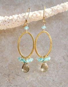 Ive wire wrapped Beer Quartz faceted pear briolettes with 14k gold filled wire to hang from 22k Vermeil brushed ovals. A cluster of beautiful