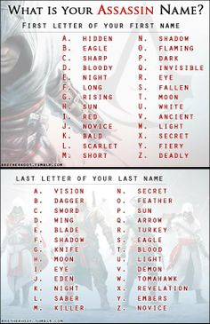 Whats your Assassin Name? I'm Night Vision. Kinda lame but okay