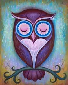 Print Sale! Code: SPRINGCLEAN For 25% Off Prints. Ends 3/12 12AM. Sleepy Owl Limited Edition Print• Edition Size - 50 • paper size - 10