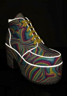 fafec01f94df Current Mood Totally Trippin  Platform Boots Yellow Lace