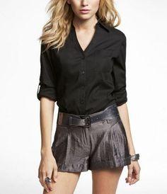 Convertible button-tab sleeve shirt (I like those shorts, too!)