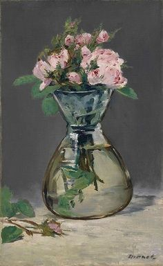 Moss Roses in a Vase by Edouard Manet