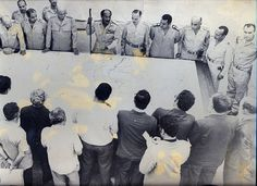 president anwar sadat explaining the 1973 battle strategy. and hey, who's that on the right? by Kodak Agfa, via Flickr