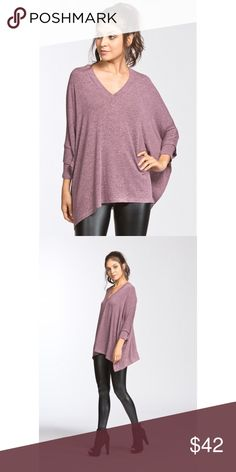 Top-MAUVE Oversized fit, three-quarter length sleeve length, V-neck poncho-like top. Drop shoulder. Double layered sleeves. This top is made with a medium weight, hacci knit fabric that has a very soft texture, is very warm, drapes beautifully and stretches well. Hannah Beury Tops