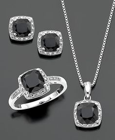 $99 Sterling Silver Three Piece Set, Onyx and Diamond Accent Ring, Pendant, and Earrings - Rings - Jewelry & Watches - Macy's