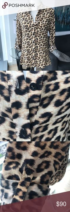 Alice + Olivia Cal Slim Leopard Print Silk Top 8 Beautiful leopard silk blouse from Alice + Olivia! Excellent condition - no issues. Button up shape with rolled sleeve detail. So pretty and great fit! Size 8. Offers welcome, no trades. Tops Blouses