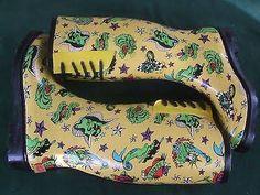 Women Boots Size 9 Betsey Johnson Baxterr Tattoo Print Xox Yellow Rain