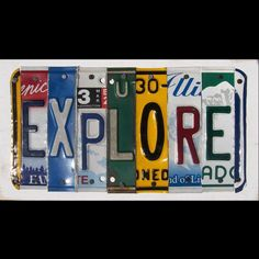 Funky EXPLORE Word Block - Custom Words Available - Recycled Vintage License Plate Sign Art - Salvaged Wood - Upcycled Artwork. $75.00, via Etsy.