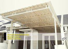 Alasan menggunakan atap Rooftop | Kanopi Surabaya Craftsman House Plans, Tiny House Design, Surabaya, Decoration, Patio, Rooftop, Canopy, Brick, Exterior